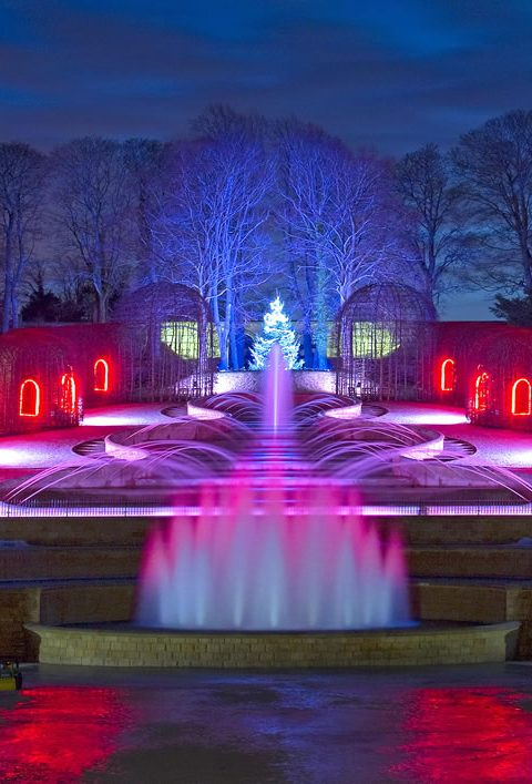 the Alnwick Garden lit up at night